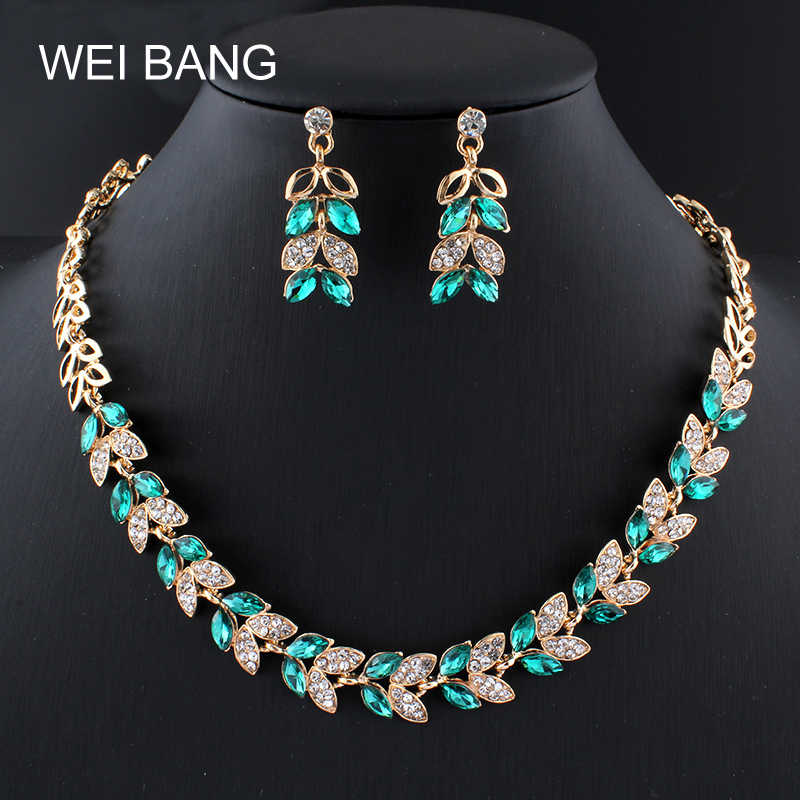 WEIBANG 2017 Bridal Jewelry Sets Women Gold color Earrings Necklace Set Plant  jewellery For Wedding Dress Green crystal gift