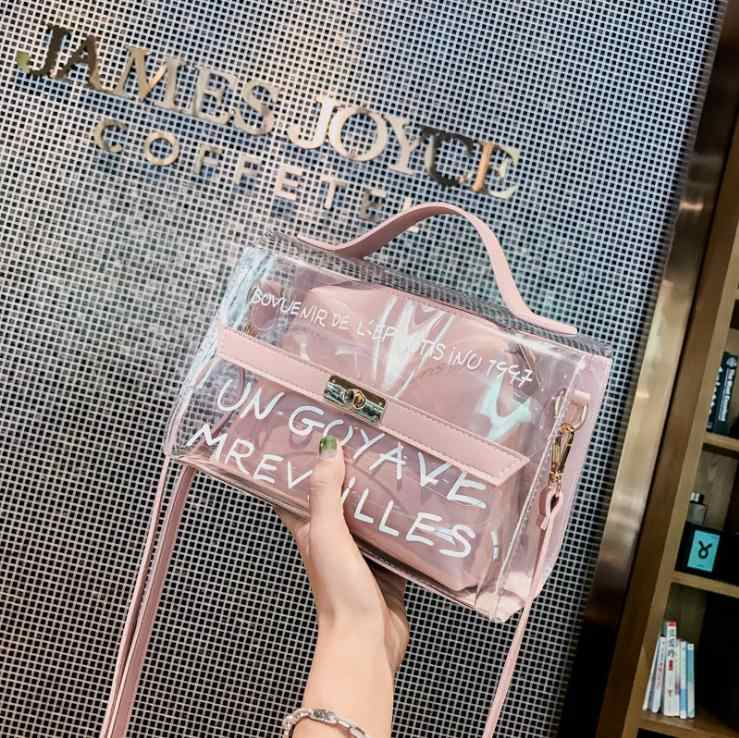 7140bd1ab820e Yeni Varış Kadın omuz çantaları Temizle Tote Crossbody Çanta Çanta  Tasarımcısı Şeffaf postacı çantası Kesesi Bir