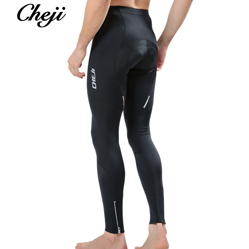 CHEJI Men Spring Autumn Cycling Pants Mtb Road Bicycle Padded Breathable Bike Long Pants Black Tights Lycra Male