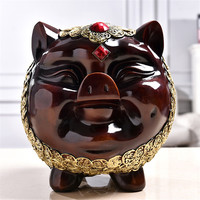 Hot Modern Pig Statue Piggy Bank Resin Coin Savings Box Money Box Child Safety Bank Birthday Gift Home Decoration Accessories