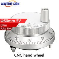 CNC Electronic Hand Wheel Diameter 60mm Input DC 5v 6 Pin Hand Wheel Siliver Color