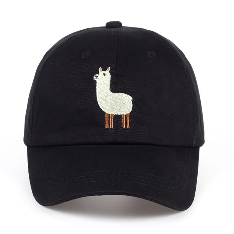 VORON new Unisex Alpaca Embroidery Adjustable Dad Hat men women cute Black beige Alpaca   Baseball     Cap