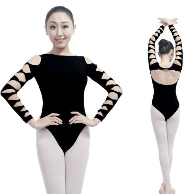 94be2e2e48e4 dancewear long sleeve costume cotton bodysuit sexy adult gymnastics  competition ballet leotards for women black dance wear