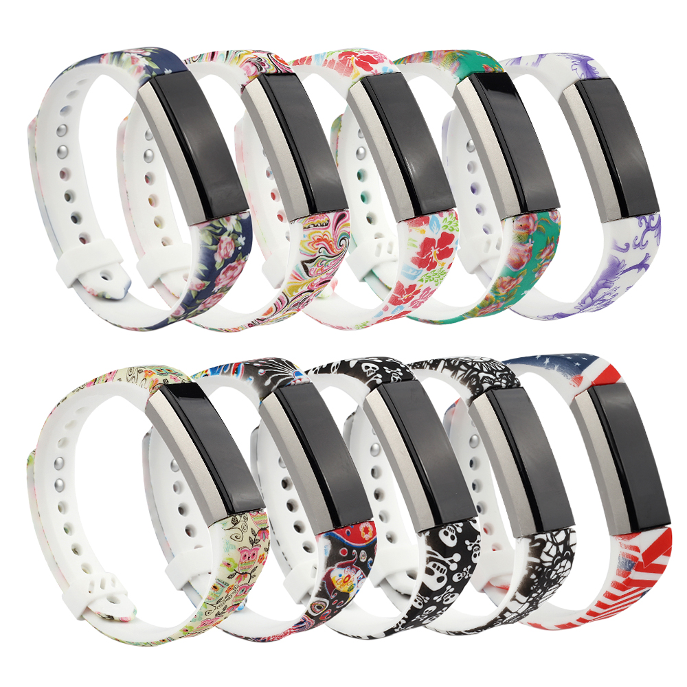 Replacement Band For Fitbit Ace/Alta/Alta HR, Silicone Strap Wristband With Metal Clasp, Flower Printing Design, Large/Small