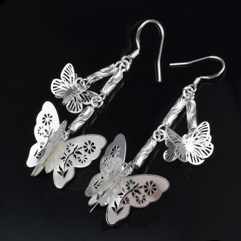 New Sliver Plated Hol Round butterfly Dangle Earrings for Women Long Silver Earings Female Drop Earring Wholesale E06