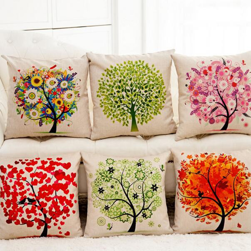 Luxury Green Cushion Covers Lucky Tree Throw Pillow Covers Car Seat Cover 45X45Cm Linen Home Office Furniture Fundas De Cojines