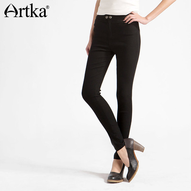 Artka Women's Autumn New Solid Color Skinny Slim Fit Pants Fashion Mid-waist Full Length Pencil Pants With Pockets KA11061Q