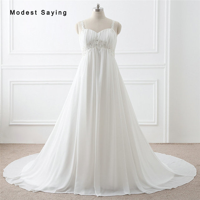 Elegant Ivory Beaded Pleated Lace Pearls Wedding Dresses 2017 with Straps  Formal Women Plus Size Bridal 1f585d779e07