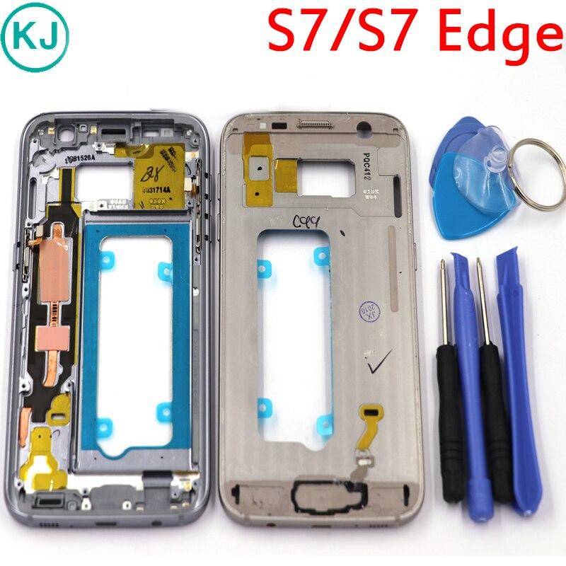 Nova Borda Do Quadro Do Meio Para Samsung Galaxy S7 S7 G930F G935F Metal Mid Placa Moldura Habitação Chassis Com Todos Os Pequenos partes