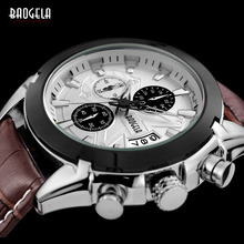 New Baogela Mens Chronograph Luminous Hands Date Indicator Fashion Causal Leather Strap Sport Quartz Wrist Watches