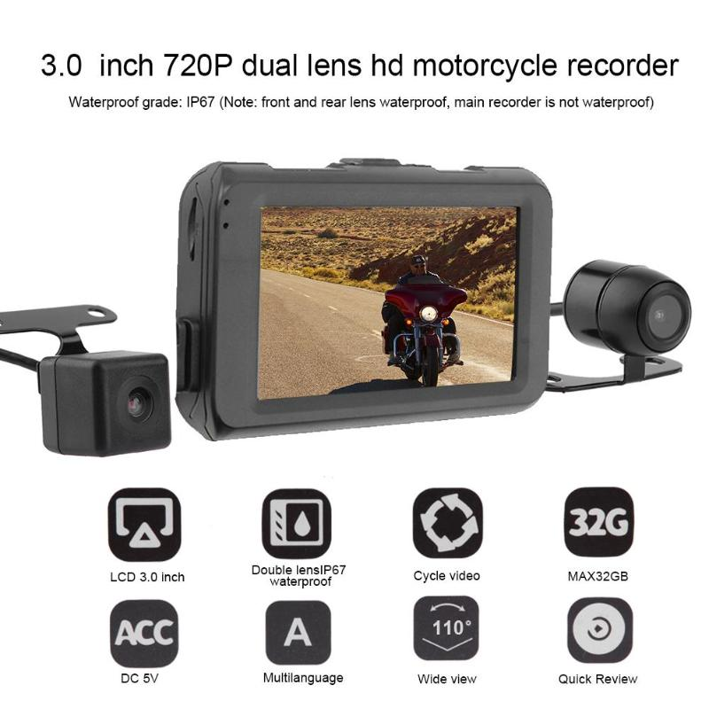 VODOOL 3in Dual Lens Motorcycle DVR Camera Video Recorder 720P+480P Front+ Rear View G-sensor Motorcycle Dash Camera Accessories цена
