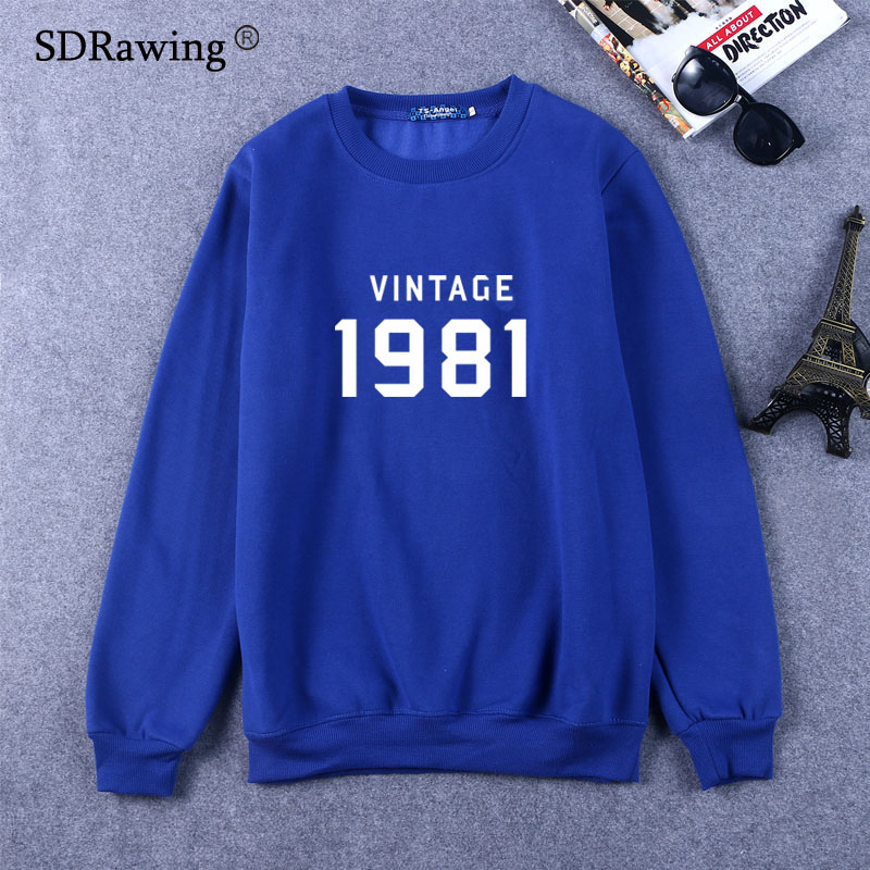 VINTAGE 1981 Letters Print Women Sweatshirts Cotton Casual Funny Sweatshirts For Lady Top Sweatshirts Hipster Drop Ship FA in Hoodies amp Sweatshirts from Women 39 s Clothing