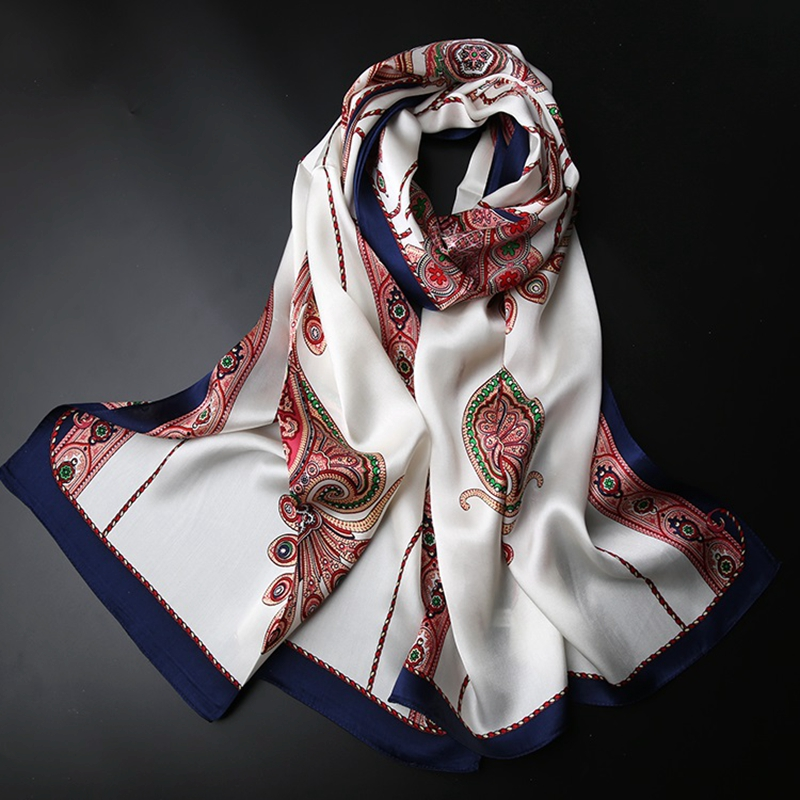 Paisley Prints Long 100% Silk Scarf Shawl Women Ladies Summer Sunscreen Silk Scarfs Wraps Foulard Female Gifts
