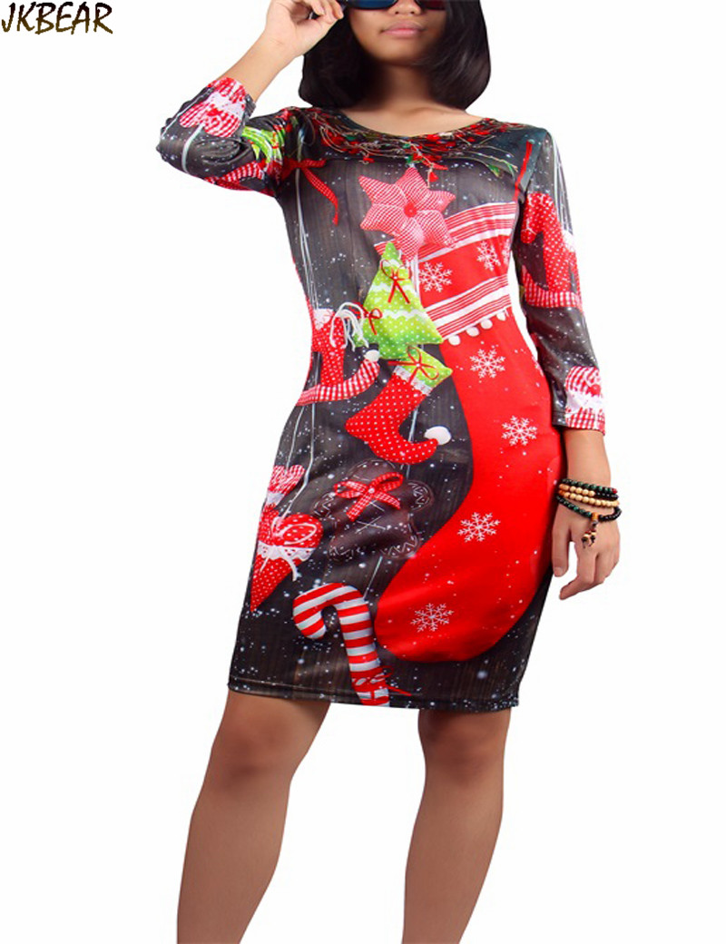 2016 ugly christmas dresses with xmas stockings print for women cute