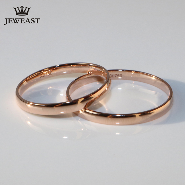 18K Rose Gold White pure Gold lover couple ring male female smooth