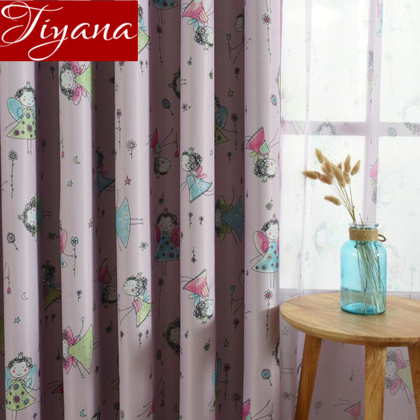 Cute Cartoon Blackout Curtain For Living Room Small Angel Curtain For Nursery Sheer Tulle Drapes Kids Bedroom Cortinas X480#30