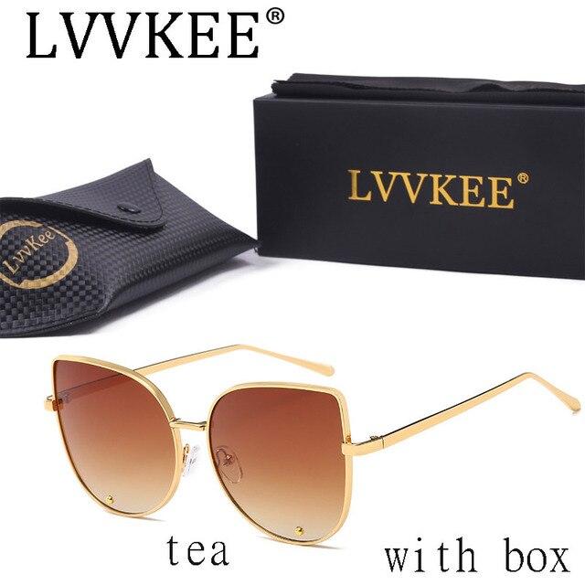 High Quality Fashion Cat Eye Sunglasses Women Gold Frame Black Brand Designer Vintage Blue Silver Grey Brown red 58025