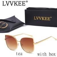 High Quality Fashion Cat Eye Sunglasses Women Gold Frame Black Brand Designer Vintage Blue Silver Grey