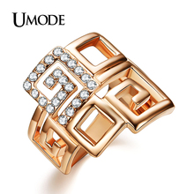 UMODE Brand Unique Design  Rose Gold Plated Rhinestones Fashion Finger Rings Jewelry For Women Christmas Gifts AJR0106