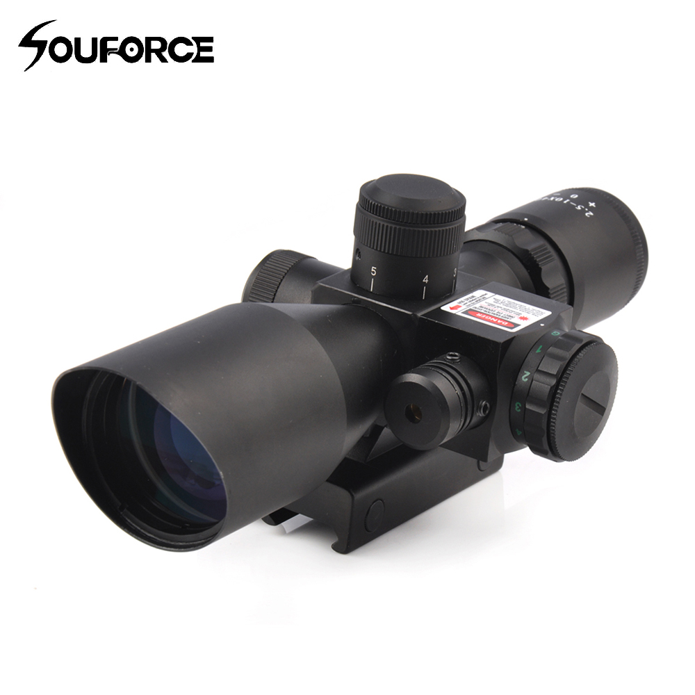Tactical 2.5-10x40 Rifle Scope with Red Laser Combo Optical Sight with Illuminated Red Green Mil-dot Crosshair for Hunting Rifle 2 5 10x40 illuminated air weapons chasse rifle scope with mil dot reticle and side mounted red laser scope optics rifle pistol