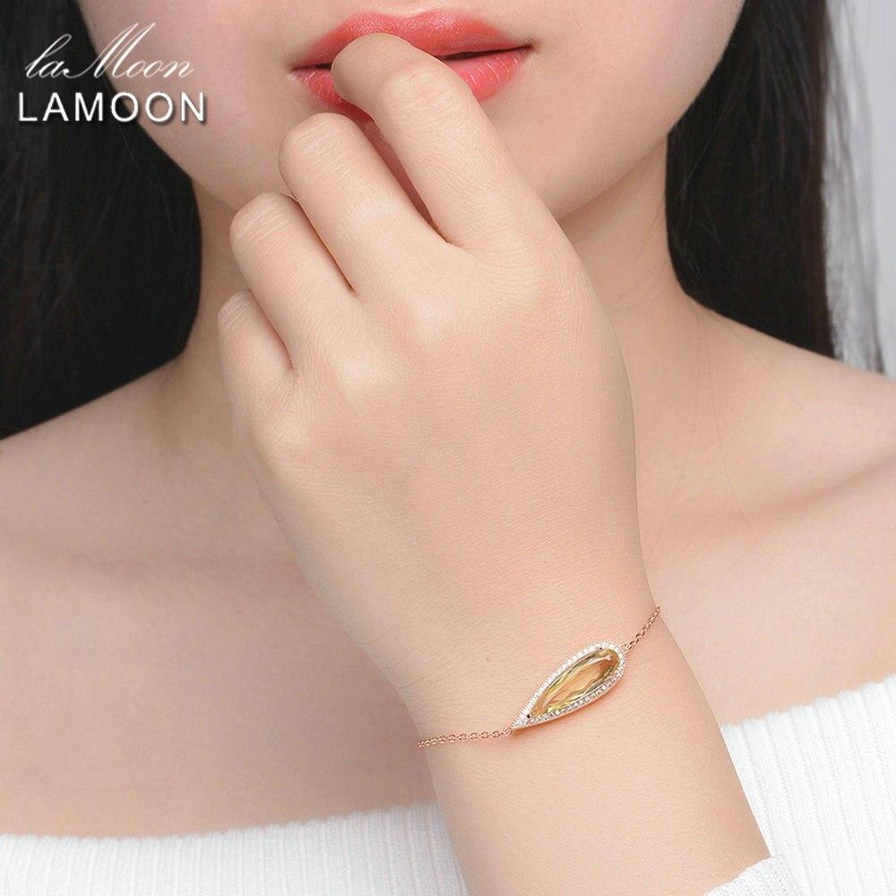 LAMOON Luxe 925-Sterling-Argent 4 pièces Ensembles De Bijoux Naturel Gros Citrine S925 Fine Bijoux pour Femmes Cadeau De Mariage V047-1 - 5