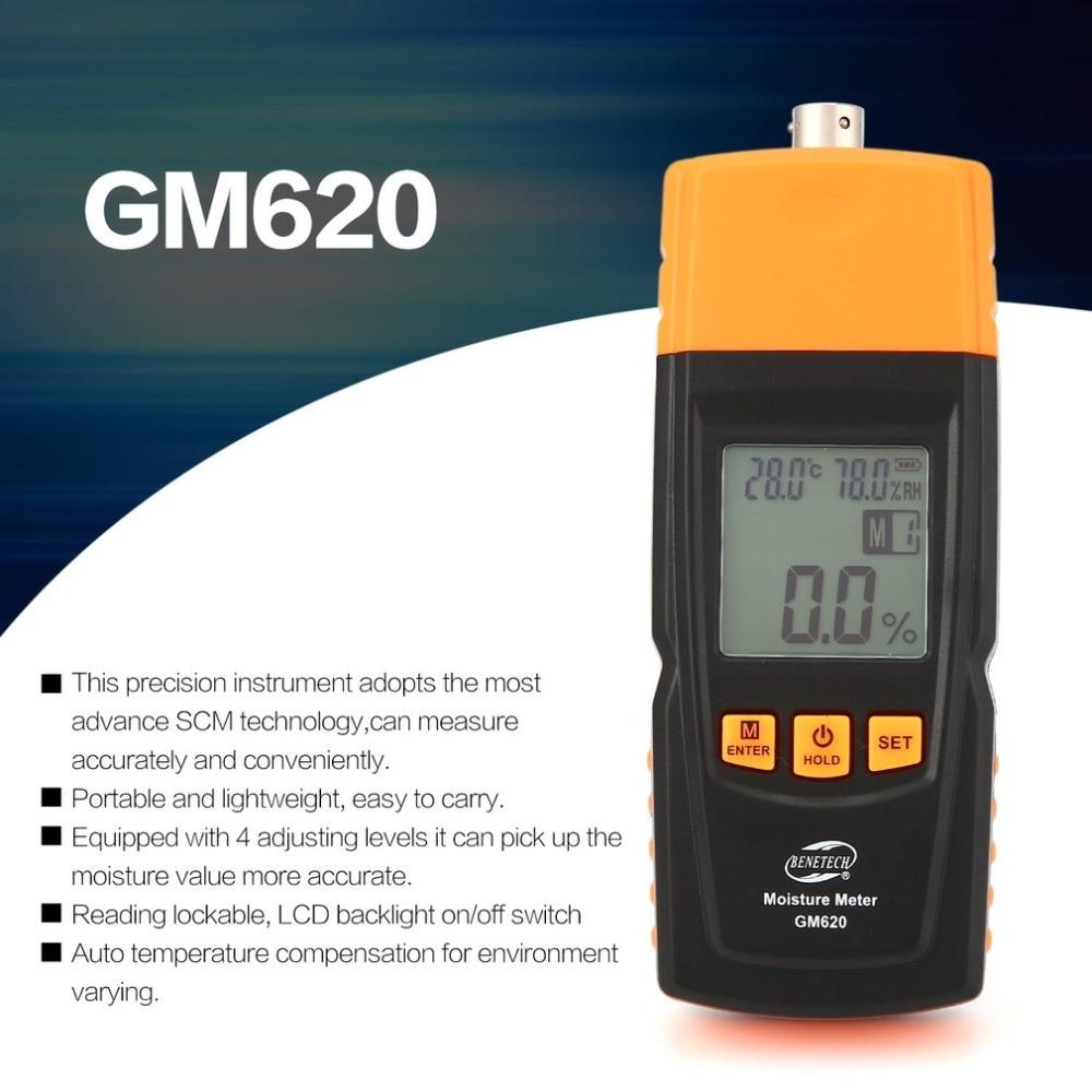 Benetech GM620 humidimètre bois numérique hygromètre testeur d'humidité contreplaqué matériaux en bois LCD rétro-éclairage détecteur d'humidité
