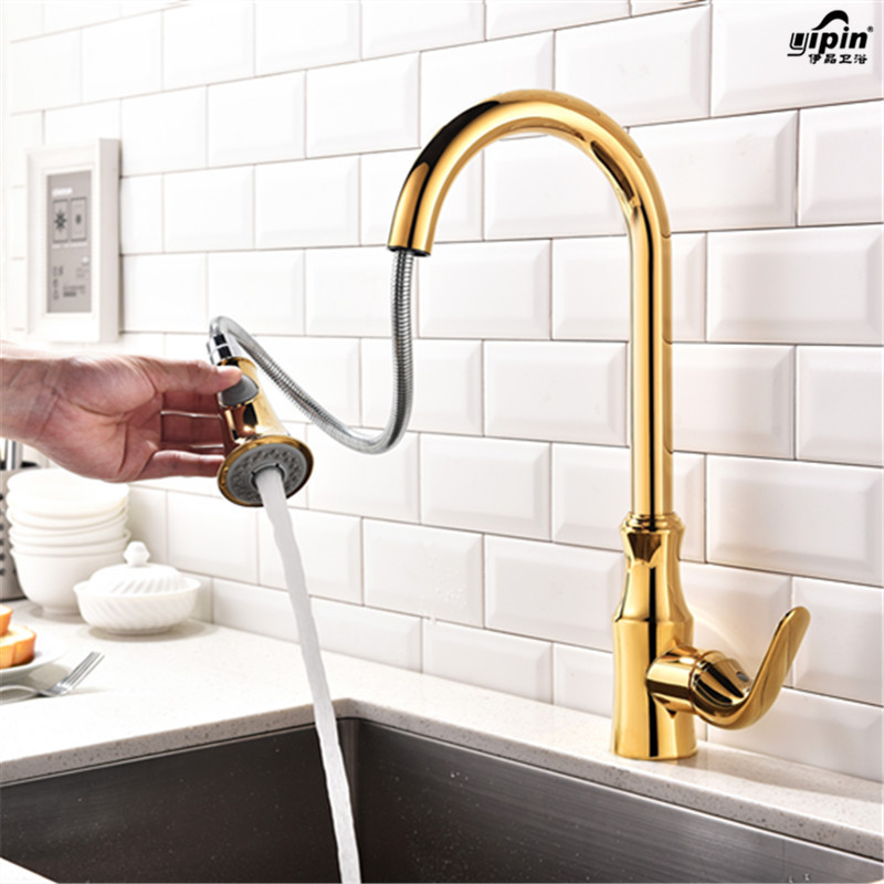 European-style Kitchen Faucet Brass Brushed Nickel High Arch Kitchen Sink Faucet Pull Out Rotation Spray Mixer Tap Lt0365 цена и фото