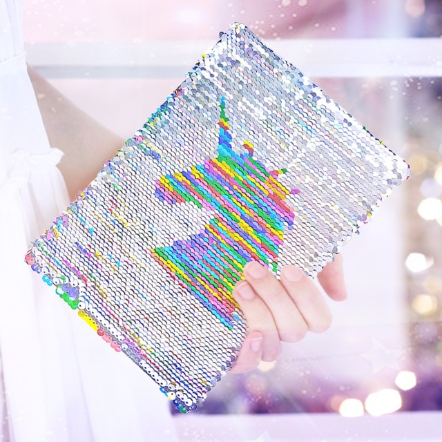 Sequined Unicorn Patterned Notebook Set