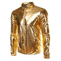 Jacket Men Veste Homme Night Club Fashion Men's Metallic Gold Front-Zip Bomber Coats Lightweight Hip Hop Rock Topcoats Silver