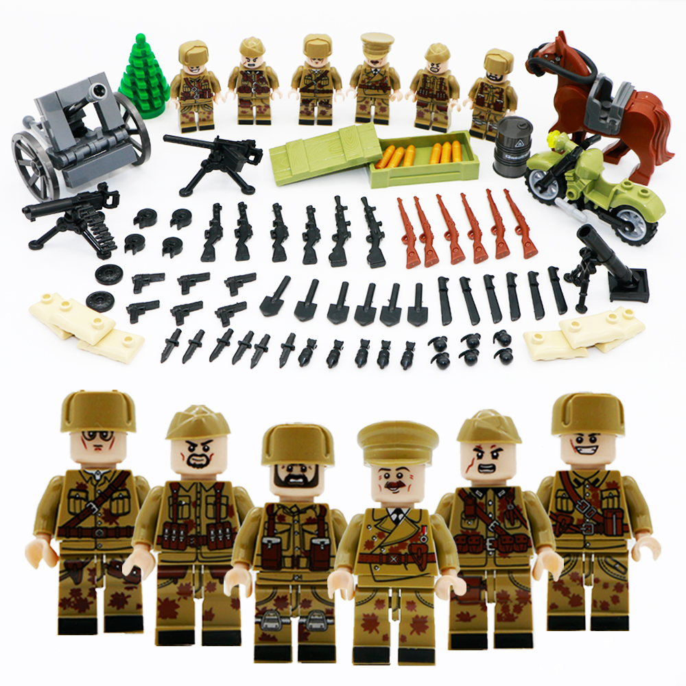 8 In 1 New Compatible Legoinglys Military Swat Minifigure Ww2 German Army Building Blocks Toys For Children Enlighten Gift Model Building Kits
