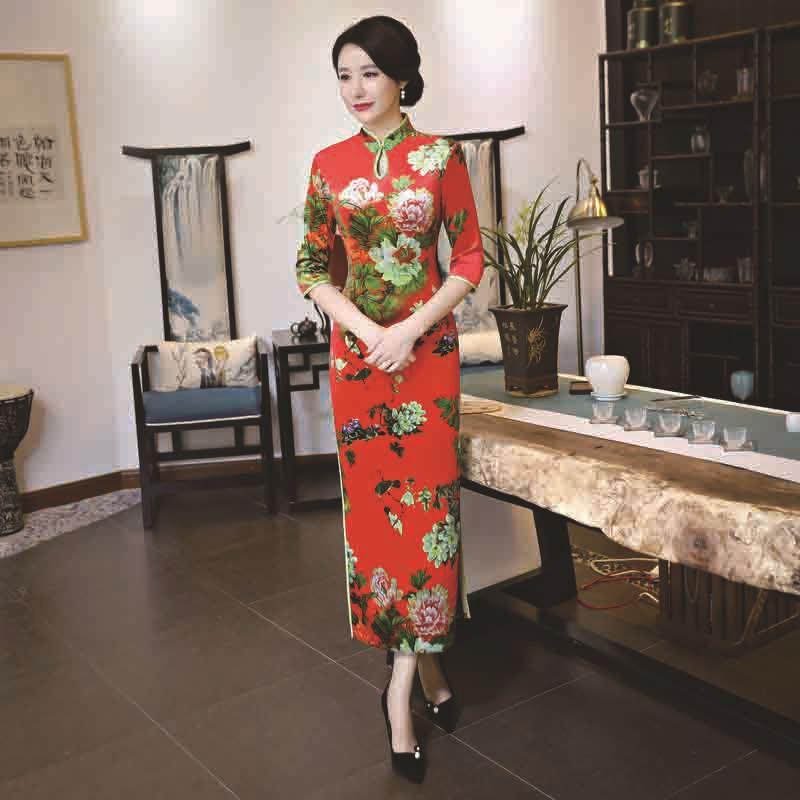 Tradizionale Xl Manica Mandarino Vestito Cinese Fiore Del Cheongsam Collare Signora 3xl Elegante Lungo Qipao Mezza L Delle Donne T204 203 Xxl Taglia M qWwgSwAUfz