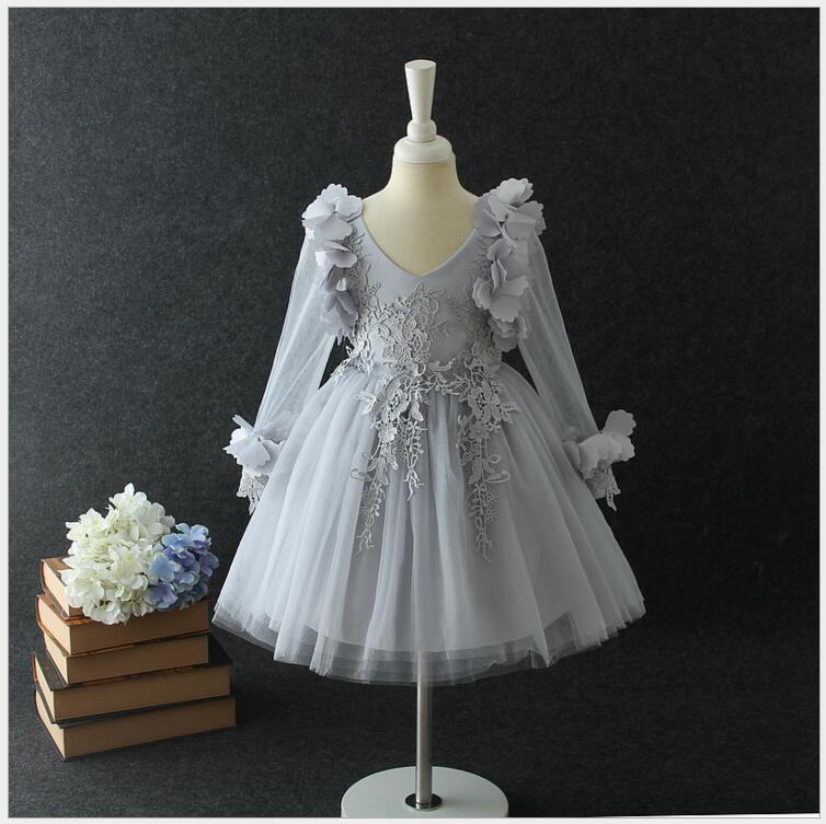 Meninas traje vestido de princesa para a menina de manga comprida Bebê roupas de tule vestido da menina adolescente da menina para o casamento de festa à noite desgaste