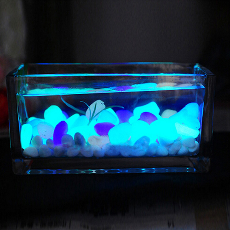 10PCS Luminous Light-emitting Artificial Pebble Stone Fish Tank Aquarium Stone Garden Decoration