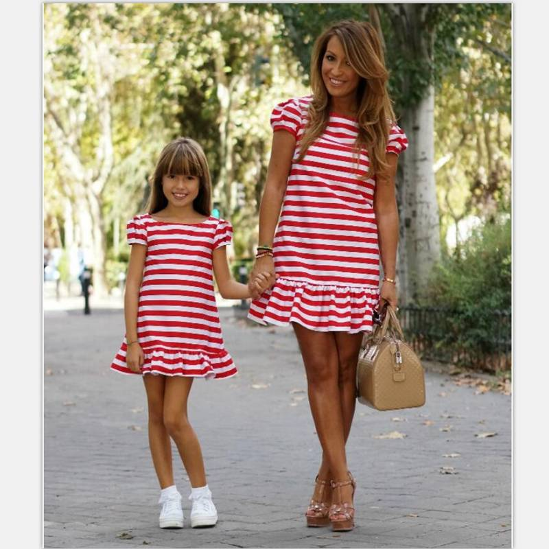 mother and daughter red striped dresses 2018 family