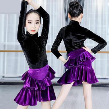 Vestido profesional de baile latino para niñas, vestidos de competición de baile de salón, trajes modernos para niños de vals/tango Cha