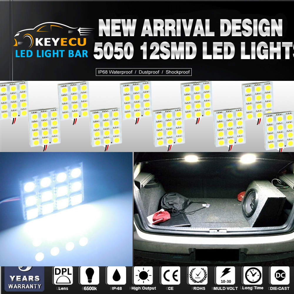 Tail Box Lights Keyecu Everbright 50-pack Super White 240lums 3th Generation Energy-saving 5050 12-smd Use For Dome Lights Ect