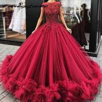 Ball Gown Quinceanera Dresses Red Lace Applique Long Tulle Puffy Party Prom Gowns Dress vestidos de 15 anos