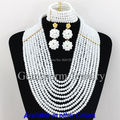 Charms 10 Layers White African Beads Jewelry Set Fashion Women Party/Engagement Necklace Jewelry Set  Free Shipping GS176