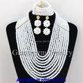 Encantos 10 Capas Blanco Beads Africanos Joyería de Moda Las Mujeres Del Partido/GS176 Engagement Collar Joyería Conjunto Envío Gratis