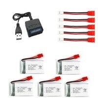 YUKALA 5in1 3.7v 500Mah Li polymer battery*4pcs+ 1 charger box for x5hc x5hw rc quadcopter rc drone 6pcs/lot