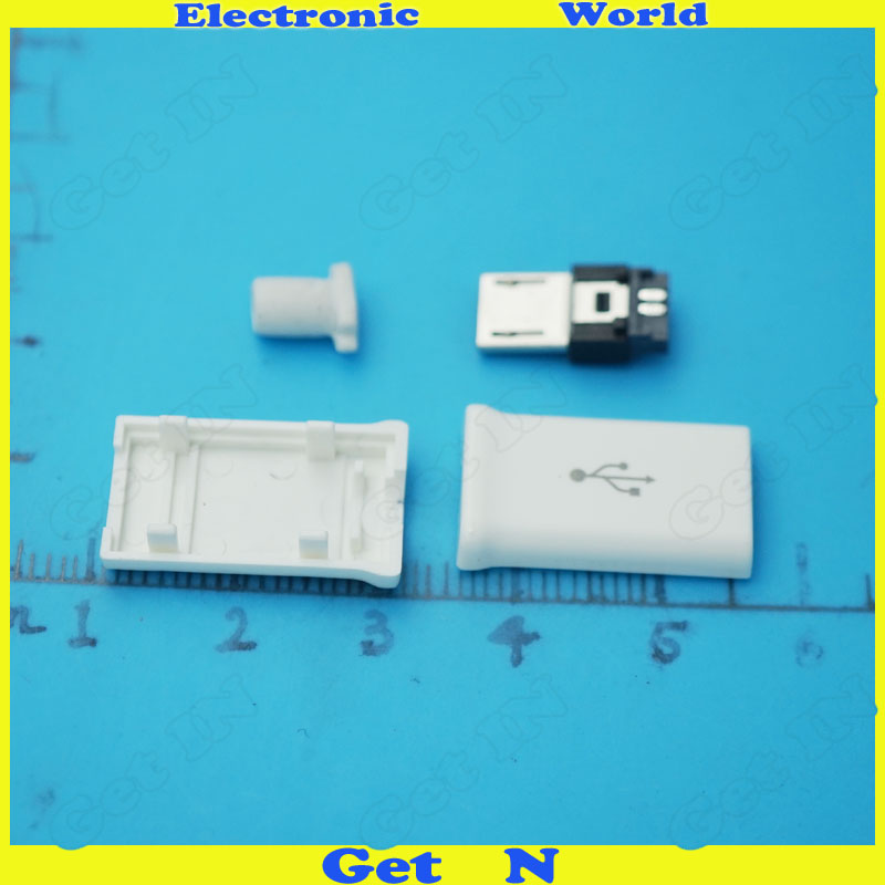 500sets 4 in 1 Micro usb Male Plug USB B Type Connectors Jack for Samsung Type White