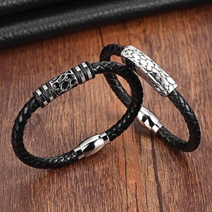 Fashion Top Stainless Steel Genuine Leather Bracelets For Women Men Trendy Bracelets & Bangles Pulseiras Masculina Men Jewelry