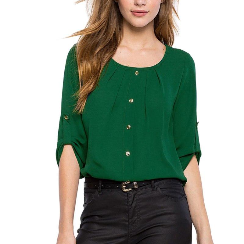 Green Yellow Women Shirt Chiffon Blusas Femininas Tops Elegant Ladies Formal Office Blouse Plus Size O Neck Shirt Women