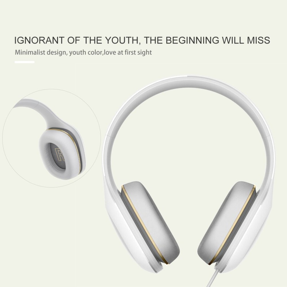 Original Xiaomi Mi Headphones Easy Edition With Mic Headset Stereo Music HiFi Earphone Button Control Headphone ir infrared wireless headphone stereo foldable car headset earphone indoor outdoor music headphones tv headphone 2 headphones