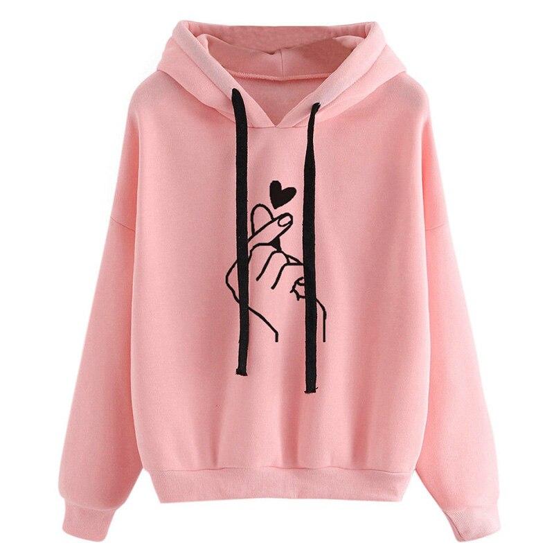Harajuku Women's Sweatshirt and Hoody Ladies Oversize K Pop Tracksuit Pink Love Heart Finger Hood Casual Hoodies for Women Girls 5