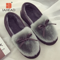 IAHEAD Brand Women Winter Shoes Warm Flock Flat Slip On Boots Shoes For Home Use UPB81