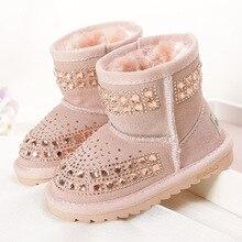 Kleinkind Baby Mädchen Winter Schneeschuhe Kinder Leder Bling Bling Schuhe Reihnstone Schuhe Ankle Prinzessin Botas Schwarz Rosa Lila