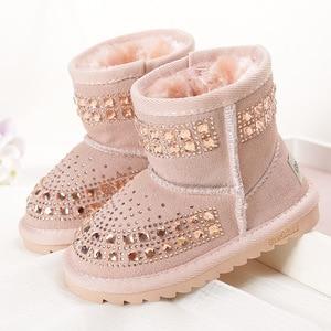 Image 1 - Toddler Baby Girls Winter Snow Boots Kids Leather Bling Bling Shoes Reihnstone Footwear Ankle Princess Botas Black Pink Purple