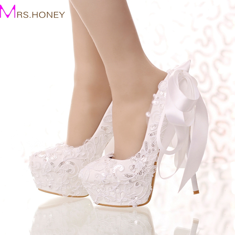 White Lace and Glitter Bride Shoes Round Toe Ribbon Bow Wedding Shoes High Heel Platform Women Party Dress Shoes Bridesmaid Pump цены онлайн