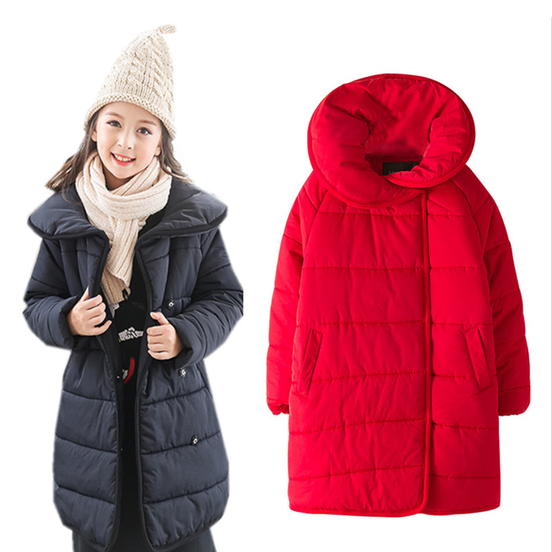4 to 14 years kids & teenager girls winter solid red black warm parkas jacket & coat children fashion casual long jacket outwear